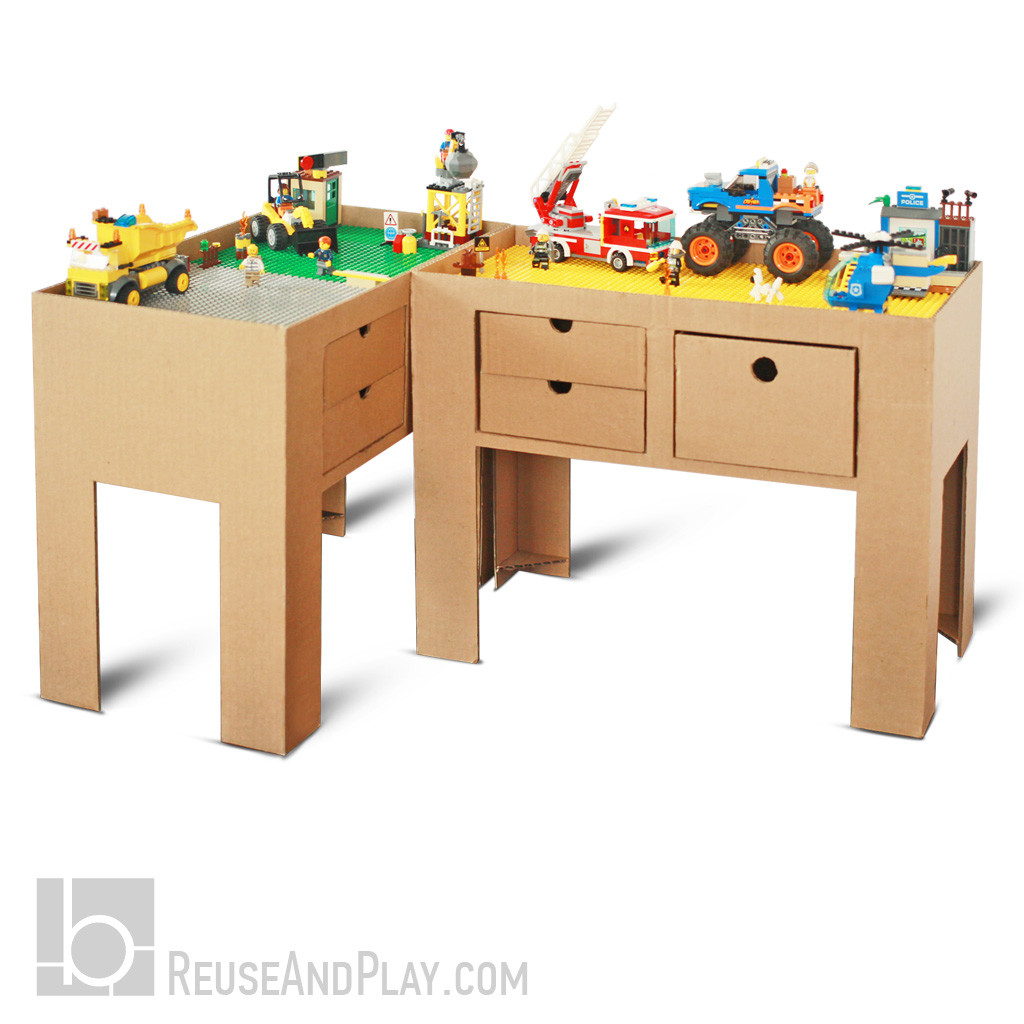 Building Block Table Out Of Cardboard Diy